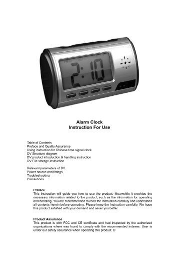 alarm clock camera instructions
