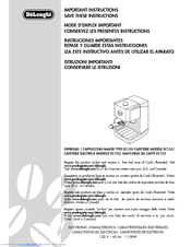 delonghi cappuccino maker ec-5 instructions