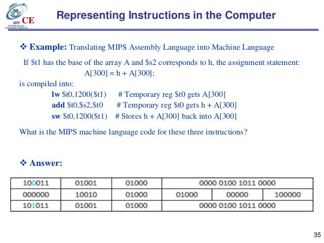 computer machine language instructions