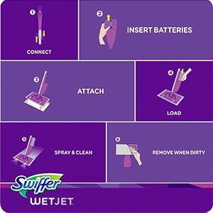 swiffer wet jet instructions batteries