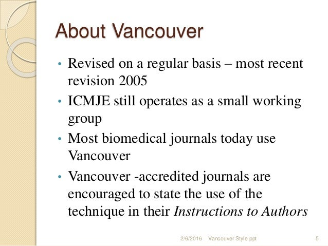 vancouver referencing instructions for authors